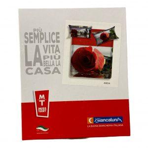 Completo Lenzuola Copriletto Per Letto Matrimoniale Biancaluna Modello Asca Rose Rosse Euro P A T